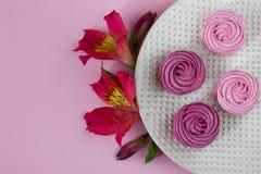 I fiori di Alstroemeria con il piatto agglutina sul fondo bianco della tovaglia Immagine Stock Libera da Diritti