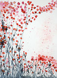 I fiori di ciliegia dall'erba lavorano il cielo Fotografia Stock Libera da Diritti