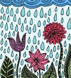 I fiori disegnati a mano variopinti gradiscono l'aster, il bellflower, la dalia ed i modelli Fotografie Stock