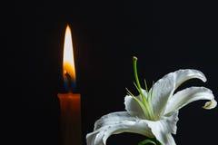 I fiori e le candele stanno bruciando. Fotografia Stock
