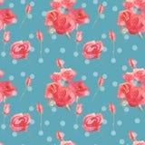 I fiori ed i germogli delle rose dentellano il fondo senza cuciture d'annata blu del modello royalty illustrazione gratis