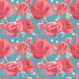 I fiori ed i germogli delle rose dentellano il fondo senza cuciture d'annata blu del modello illustrazione vettoriale