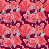 I fiori ed i germogli delle rose dentellano il fondo senza cuciture d'annata blu del modello illustrazione di stock