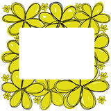 I fiori gialli scarabocchiano con lo spazio del quadrato bianco al vettore concentrare Fotografia Stock Libera da Diritti