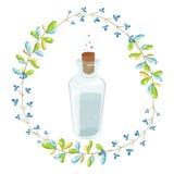 I fiori leggiadramente magici si avvolgono e un barattolo dell'acqua blu royalty illustrazione gratis