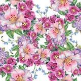 I fiori lilla del mazzo della primavera, acquerello, modellano senza cuciture Fotografia Stock Libera da Diritti