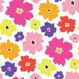 I fiori minimalistic Colourful hanno sparso sul modello senza cuciture di vettore bianco del fondo illustrazione vettoriale