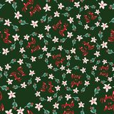 I fiori orientabili di natale e del misteltoe si avvolgono Iscrizione: Allegro e luminoso Fondo verde Reticolo senza giunte di ve illustrazione di stock