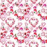 I fiori rosa d'annata dei cuori si avvolgono con il modello senza cuciture delle rose dell'acquerello su fondo bianco illustrazione di stock