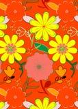 I fiori rossi e gialli luminosi del modello, in una progettazione senza cuciture illustrazione di stock