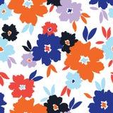 I fiori stilizzati audaci hanno sparso sul modello senza cuciture di vettore bianco del fondo royalty illustrazione gratis