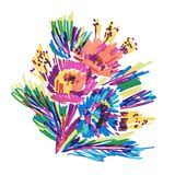 I fiori stilizzati vettore hanno dipinto l'indicatore royalty illustrazione gratis