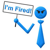 I Am Fired Man With Signboard Stock Photos
