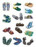 I Flip-flop ed i sandali degli uomini Fotografie Stock Libere da Diritti