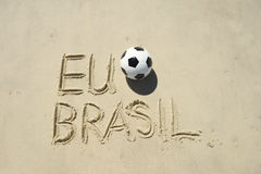 I Football Brazil Sand Message Royalty Free Stock Photo