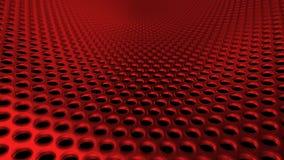 I fori d'acciaio industriali del ferro di Metall modellano la prospettiva rossa DOF del setaccio illustrazione vettoriale