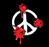 I fori di pallottola con sangue schizza sul segno di pace Illustrazione piana su fondo nero Fotografie Stock