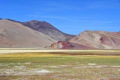 I fotstegen av Roerichs expedition Härliga färgrika berg i Tibet, Kina arkivfoton
