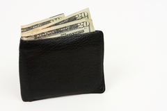 I found a wallet. Black men's leather wallet with money, isolated on white Stock Photos