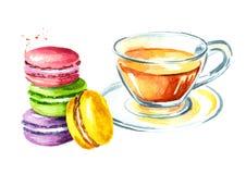 I francesi tradizionali agglutinano il macaron o il maccherone, biscotto variopinto, con tè Illustrazione disegnata a mano dell'a illustrazione vettoriale