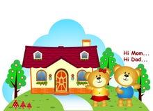 I fratelli degli orsi erano davanti alla loro casa royalty illustrazione gratis
