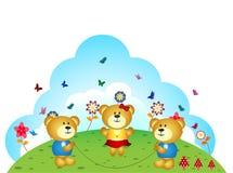 I fratelli degli orsi stanno giocando la corda di salto nel giardino illustrazione vettoriale