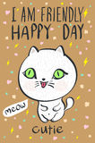 I am  friendly happy day cutie meow cat illustration vector Stock Images
