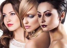 I fronti delle donne con pelle perfetta e compongono Fotografia Stock Libera da Diritti