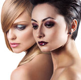 I fronti delle donne con pelle perfetta e compongono Immagini Stock Libere da Diritti