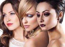 I fronti delle donne con pelle perfetta e compongono Fotografie Stock Libere da Diritti