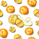 I frutti dei mandarini sono su un fondo bianco Pennarelli di schizzo di colore Frutta tropicale Lavoro manuale Reticolo senza giu illustrazione di stock