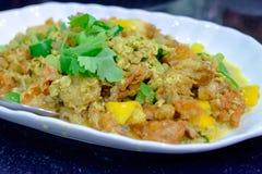 I frutti di mare hanno fritto, uova allora fritte e pepe Immagini Stock Libere da Diritti