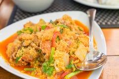 I frutti di mare hanno fritto, uova allora fritte e peperoni Immagine Stock Libera da Diritti