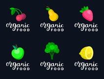 I frutti e le bacche vector l'illustrazione nello stile piano per il logos dell'alimento di eco, segni dei prodotti biologici Ico illustrazione vettoriale