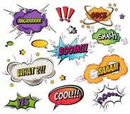 I fumetti comici e spruzza l'insieme con differenti emozioni ed illustrazioni dinamiche luminose del fumetto di vettore del testo illustrazione vettoriale
