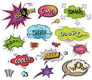 I fumetti comici e spruzza l'insieme con differenti emozioni ed illustrazioni dinamiche luminose del fumetto di vettore del testo royalty illustrazione gratis