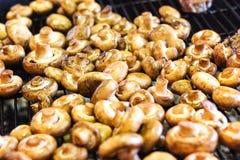 I funghi bianchi del fungo prataiolo hanno grigliato sulla griglia o vapore del BBQ e piccole gocce dell'acqua Cottura dei funghi Fotografie Stock