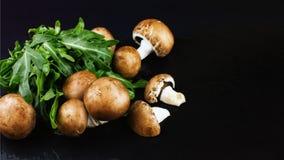 I funghi crudi freschi bruniscono i funghi prataioli e la rucola verde su un dar Immagini Stock Libere da Diritti