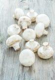 I funghi prataioli su fondo di legno Immagine Stock Libera da Diritti