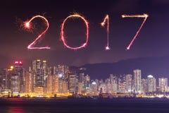 I fuochi d'artificio da 2017 buoni anni che celebrano sopra la città di Hong Kong Fotografia Stock Libera da Diritti