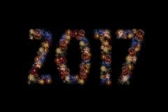 I fuochi d'artificio di colore accendono la formazione del 2017 Immagine Stock Libera da Diritti