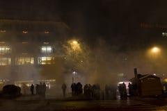 I fuochi d'artificio e le celebrazioni di 2015 nuovi anni al quadrato di Wenceslas, Praga Fotografia Stock Libera da Diritti