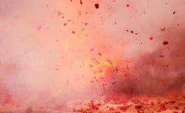 I fuochi d'artificio esplodono il rosso Fotografia Stock Libera da Diritti
