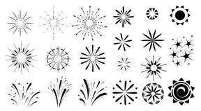 I fuochi d'artificio messi dei tipi differenti dell'icona nera di esplosioni isolati sulla pagina del sito Web del fondo e sul ce Immagine Stock