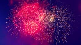 I fuochi d'artificio multicolori stanno illuminando il cielo archivi video