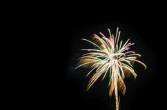 I fuochi d'artificio variopinti accendono il cielo Immagine Stock