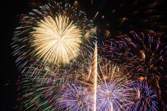 I fuochi d'artificio variopinti accendono il cielo Fotografia Stock