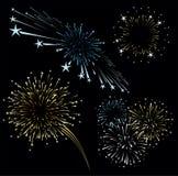 I fuochi d'artificio vector l'insieme Immagini Stock