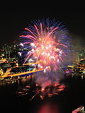 I fuochi d'artificio video alla baia del porticciolo durante il NDP 2012 Immagine Stock