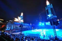 I fuochi d'artificio video durante il NDP 2010 Immagine Stock